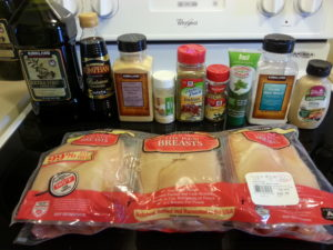 All the ingredients for meal prep chicken